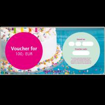 Voucher for EUR 100,00: Congratulation motive 'Cake'